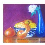 Blue vase and fruit bowl