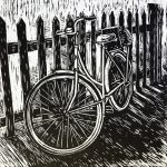 Bicycle against fence – linocut