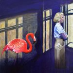 The Watch house – Flamingo surreal painting