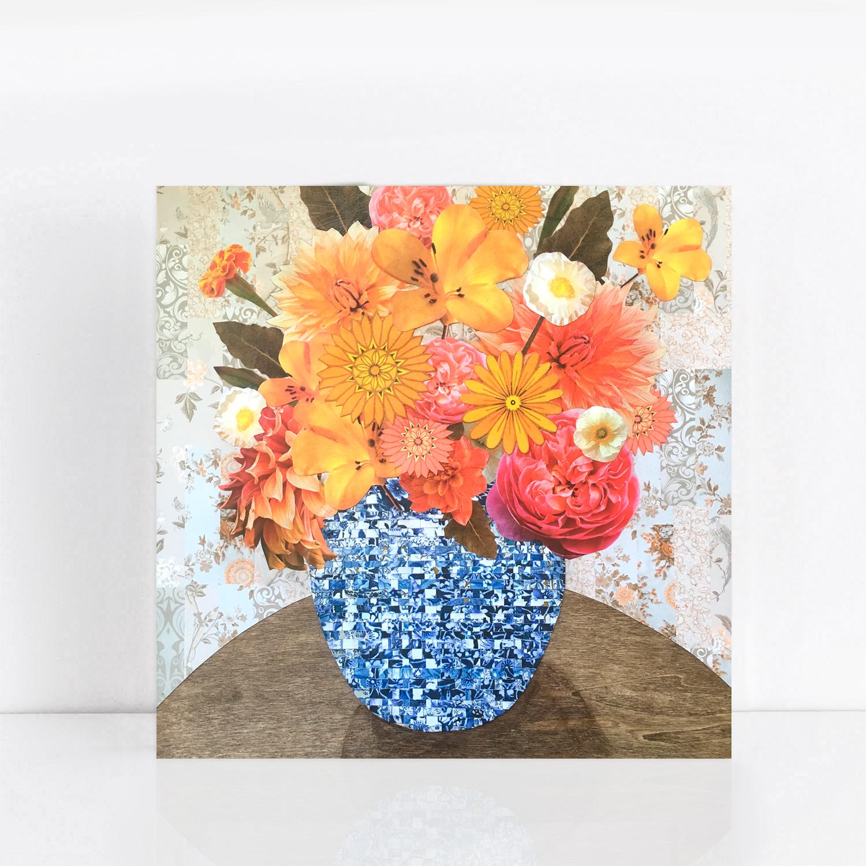 Summer flowers in blue vase