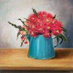 Gum flower in blue jug