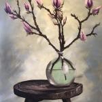 Magnolias in a green vase