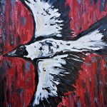 Magpie on Deep Red