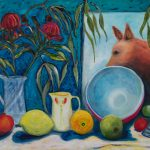 Still Life with Red Dog