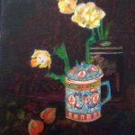 Chinese tea and yellow tulips
