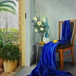 Chair with blue drapery