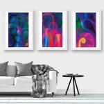 Lunar Garden Triptych – A4 Fine Art Giclee Prints