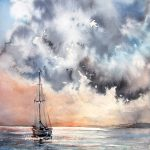 """""""A boat"""" – seascape watercolour painting"""