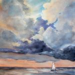 """Cloudy Day"" – seascape watercolour painting"