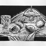Chalice and Pomegranates – woodcut print