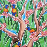 Rainbow Lorikeets In The Gum Trees