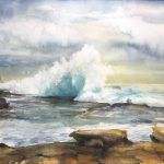 """""""Clouds & Waves / Sydney Maroubra Beach"""" – seascape watercolour painting"""