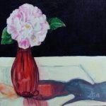 Pink Camellia Red Vase