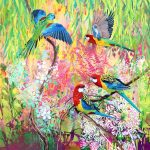 Garden Party number 5 – eastern rosellas