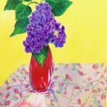 Modern Lilac in Red Vase