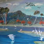 Flame Trees and Egrets